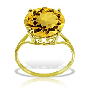 14k Solid Yellow Gold Ring with Natural 12.0 MM Round Citrine - Size 10.0