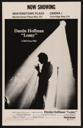 Lenny Window Card Movie Poster '74 Cool Silhouette Image Of Dustin Hoffman As Comedian Lenny Bruce At Microphone!