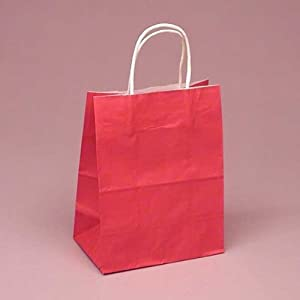 MagaMallGroup Small Red Shopper Bags (5 1/2 in. wide x 3 1/4 in. deep x 8 3/8 in. tall) - pack of 5 at Sears.com