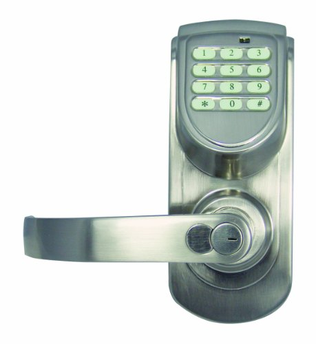 Design House 702951 Keypad Entry With Lever Set With Left Hand Mount, Satin Nickel Finish