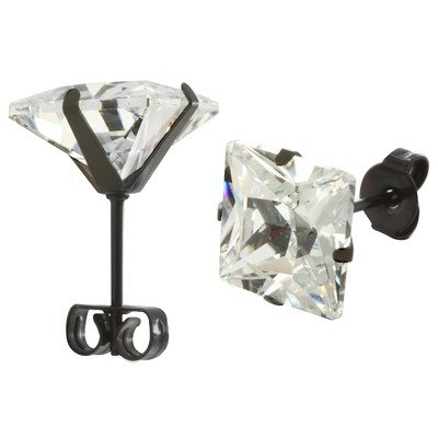 Men's Princess Cut Cubic Zirconia Stud Earrings Gemstone Color: Clear, Total Carats: 1 1/4 Cts (7 mm)