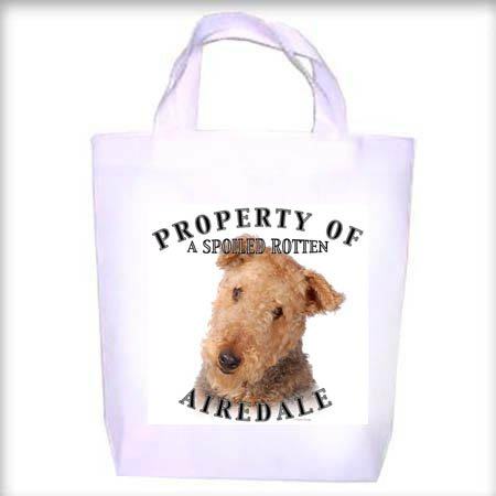 Airedale Property Shopping - Dog Toy - Tote Bag