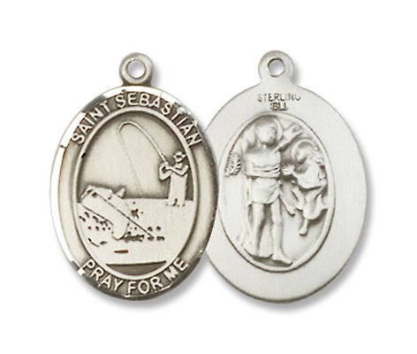 St. Sebastian Sports Fishing Sterling Silver Medal with 18