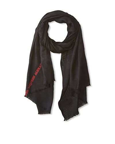 Alexander McQueen Men's Logo Scarf, Black/Red