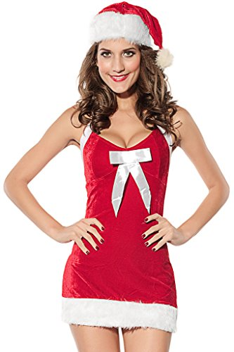 HOTAPEI Women's Mrs Santas Claus Christmas Lingerie Dress Costume