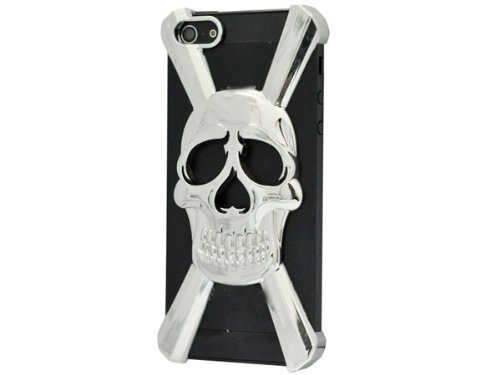 HJX Silver iphone 5 X Shape New Special Skull Hard Case Cover Skin for iPhone 5 5g