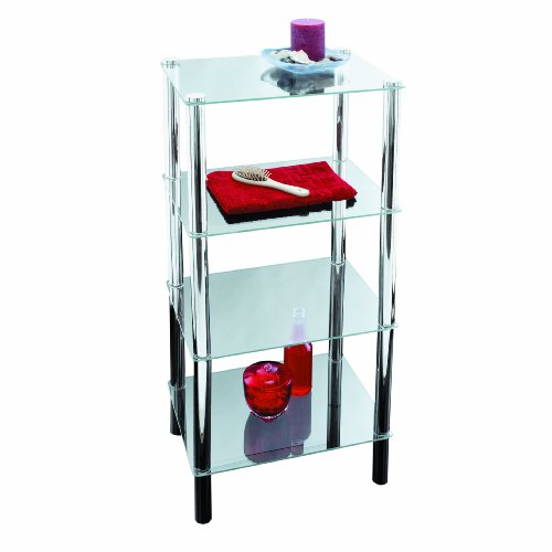 Axxentia Bathroom 282130 Standing Shelf Solanio Chrome with 4 Glass Shelves 40 x 30 x 108 cm