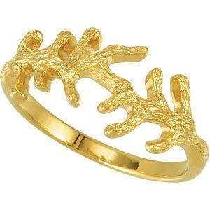 Sterling Silver Branch Gold Plated Ring, Size 6 to 7