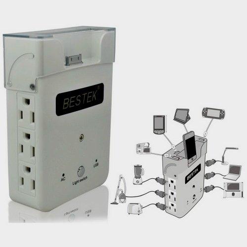 Bestek Wall Charging Station Power Strip Usb Surge Protector W/ 6 Ac Outles+4 Usb Ports 2.1A 1A+Nightlight+Iphone Charging Dock Mrj1870