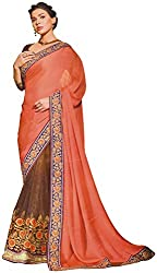 Ambica elegance speaks Women's Marble Saree (Ambica 3612_1, Brown, Light Orange Colour)