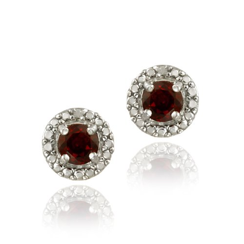 Sterling Silver Garnet & Diamond Accent Stud Earrings