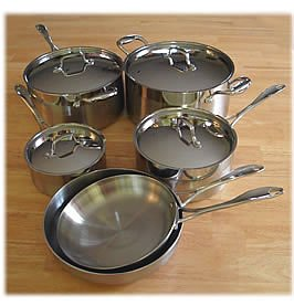 Jiminox 10 Pcs Cookware Set - 5-ply with 18/10 Stainless Steel