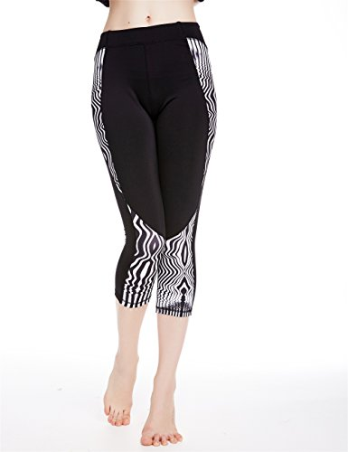 icyzone Women's Printed Active Workout Capri Leggings Fitted Stretch Tights (L, ZEBRA-STRIPE)