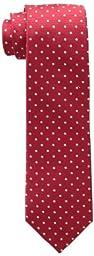 Tommy Hilfiger Men\'s Dot Doug Tie, Red, One Size