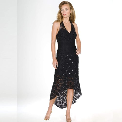 Black Evening Gown. Prom Dress. Womens Long Evening Gown. Beaded Dress by Sean Collection (8737) BLACK L