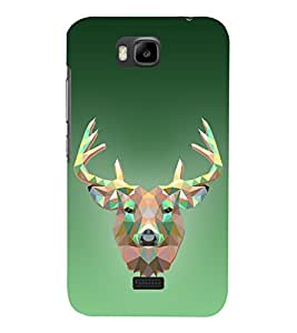 Graphic 3D Deer 3D Hard Polycarbonate Designer Back Case Cover for Huawei Honor Bee :: Huawei Y5C