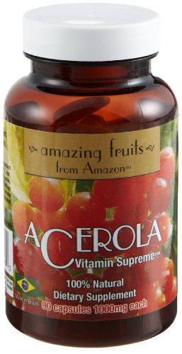 Amazing Fruits From Amazon, Acerola Vitamin Supreme (1000 mg) Dietary Supplement, 90-Count Capsules