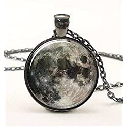 Full Moon Necklace, Space Picture Pendant, Galaxy