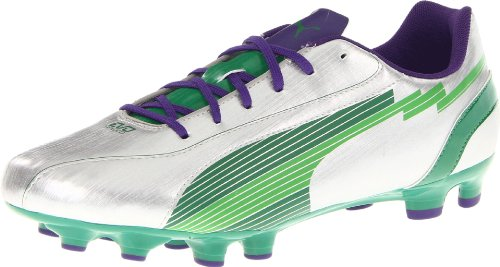 Puma Men's Evospeed 5 FG Soccer Shoe,Puma Silver/Team Green/Team,10.5 D US