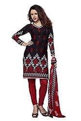 Variation Women's Black Crepe Unstiched Dress Material (VD14425)