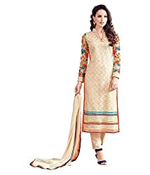 My online Shoppy Women's Net Unstitched Dress Material (My online Shoppy_122_Beige_Free Size)