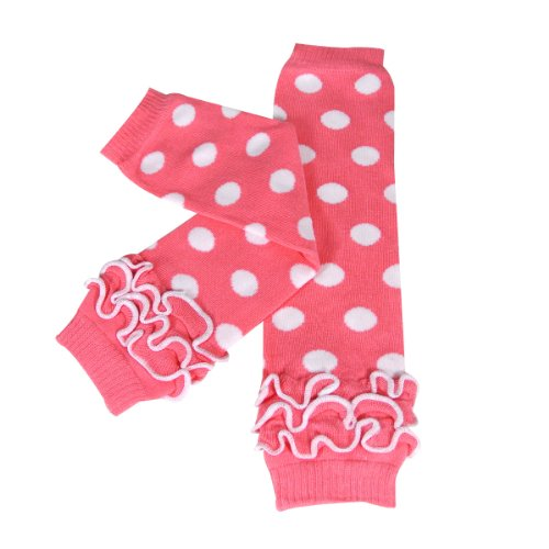 Wrapables Dots, Hearts, and Ruffles Colorful Baby Leg Warmers - Dots Pink & White with Ruffles (Pink Heart Socks White)