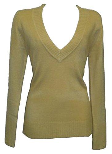 ex-hm-green-beige-knitted-smart-top-sweater-sweatshirt-jumper-size-10-12-14-uk-14-sand