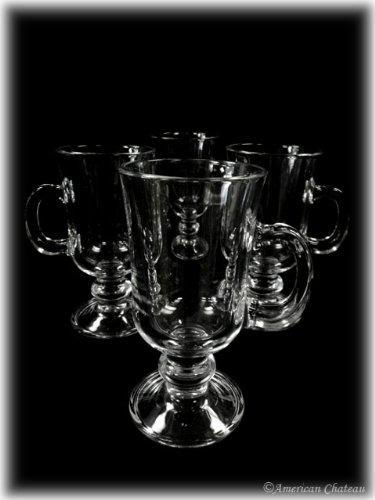 Set Of 4 Clear Glass Mug Footed Irish Glasses Iced Coffee Cups Tea Mugs