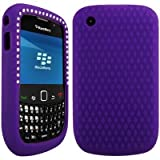 Wayzon Purple BlackBerry Curve 8520 Case Cover Skin Pouch Silica Rubber With Diamonds Studded In