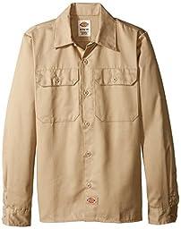 Dickies Big Boys\' Twill Long Sleeve Shirt, Khaki, X-Large (18/20)