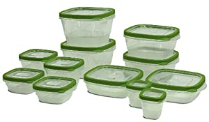 24 Piece Food Storage Container Set - 12 BPA Free Plastic Containers with Snap Tight Lids