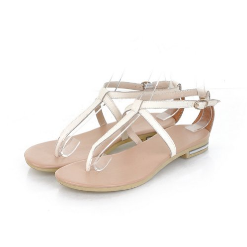 G-Small Women Lady Girls August Leather Patent Flat T-Strap Flip Flops Sandals Shoes-Beige-34