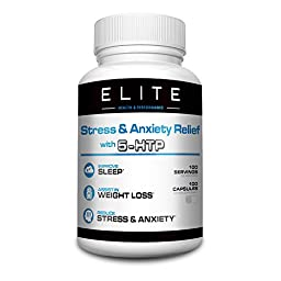 Anxiety Relief Supplement (100mg) by Elite Health and Performance - 5-HTP Stress Relief - Appetite Control - Improves Sleep, Mood & Focus - 100 Capsules - BONUS: 2 Free EBooks