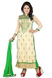 JHEENU Green Chiku Women's Chanderi unstitched Straight Salwar Suit dress mat...
