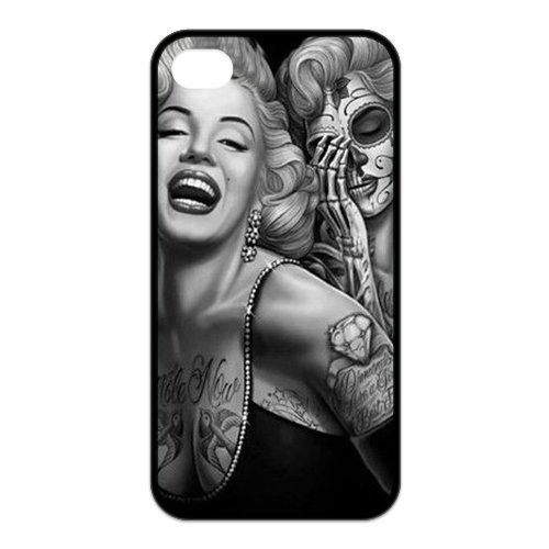 Treasure Design Marilyn Monroe Dia De Los Muertos Skull Tattoo Day Of Dead Apple Iphone 4/4S Best Rubber Cover Case front-40059