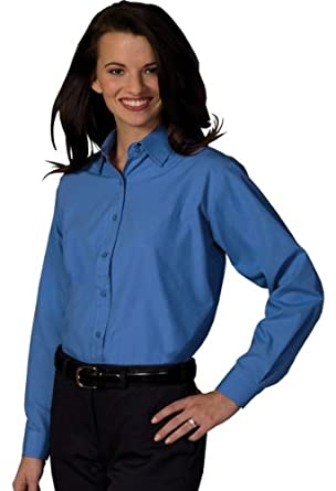 Ed Garments Women's Long Sleeve Value Broadcloth Shirt, FRENCH BLUE, Small