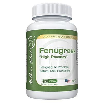 Fenugreek Capsules For Increased Breast Milk Supply During Breastfeeding & Lactation - 100% Organic Fenugreek Seed Supplement / Vitamins- Better than Tea, Oil,& Leaves - 120 Herbal Vegetarian Pills