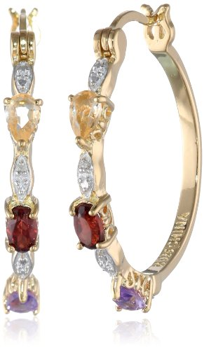 18k Yellow Gold Plated Sterling Silver Multi-Gemstone