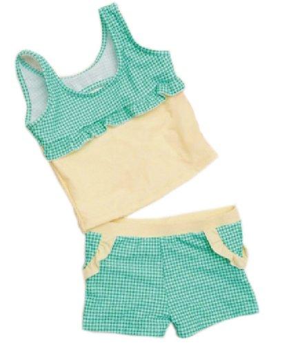 2 Pieces Swimsuit Bathing Suit Tank Aqua Tartan, Girl, 120-140cm, 10-14 Year-old image