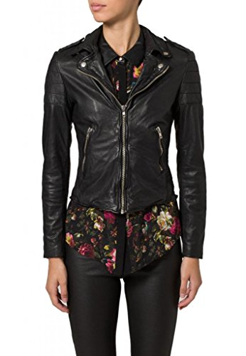KGN FASHION Women Cow Leather Jacket WC113 S Black