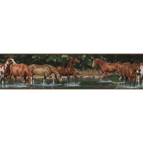 York Wallcoverings RMK1016BCS RoomMates Wild Horses Peel & Stick Border, - 1
