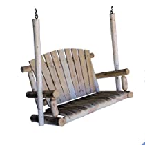 4ftCedar Log Porch Swing, Natural