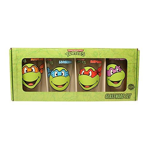 Silver Buffalo NT031P1 Teenage Mutant Ninja Turtles Smiles 4 Piece Pub Glass Set, 16 oz, Silver (Ninja Turtles Glasses compare prices)