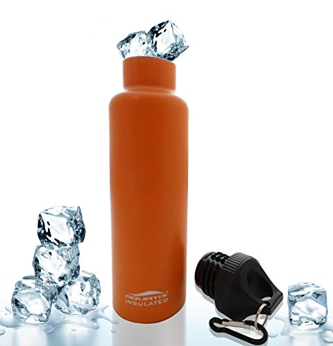 Orange 21 Oz Double Wall Vacuum Insulated Thermal Bottle Personal Hydration Eco Friendly Sports Water Bottle Keeps Your Water Cold for 24 Hours and Hot for 12 Hours!!! Does Not Sweat! Perfect for Yoga, Soccer, Basketball, Fitness, Exercise, Football, Golf, Outdoor, Hiking, Rock Climbing Hunting, Fishing, Softball, Baseball Too! Maximum Chill Factor