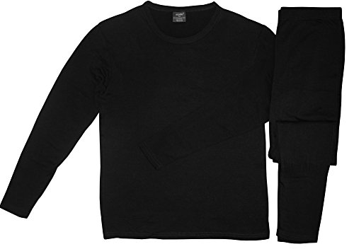 Comfort Fit Men's Microfiber Fleece Lined Thermal Top & Bottom Underwear Set, Large, Black (Mens Spandex Thermal Underwear compare prices)