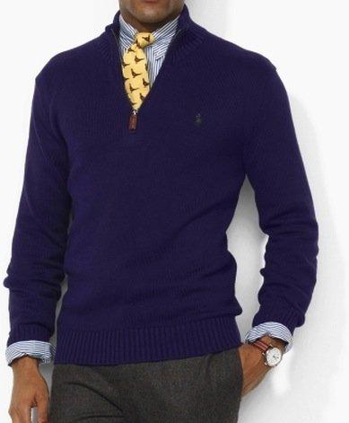 Polo Ralph Lauren Mens Cotton Half Zip Jumper Sweater in Purple (X-Large)
