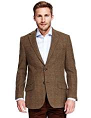 Sartorial Luxury Pure New Wool Tailored Fit Multi Checked Jacket