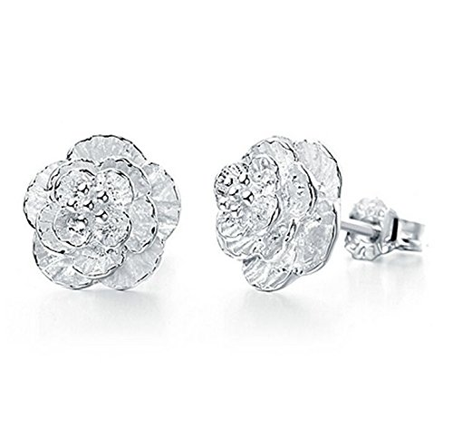 Womens 925 Sterling Silver Flower Stud Earrings