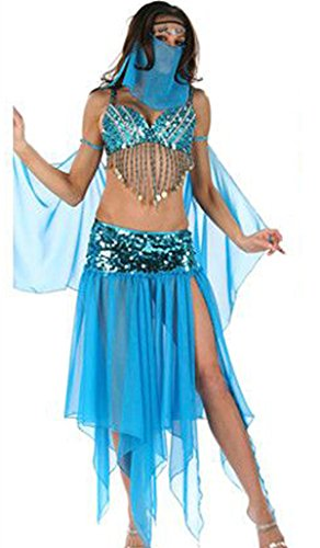 Adult Womens Sexy Arabian Genie Harem Girl Halloween Costume Dress up Stage Outfit