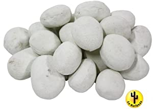 24 x CERAMIC PEBBLES WHITE FOR BIO ETHANOL FIREPLACE GEL BURNER FIRE 59201